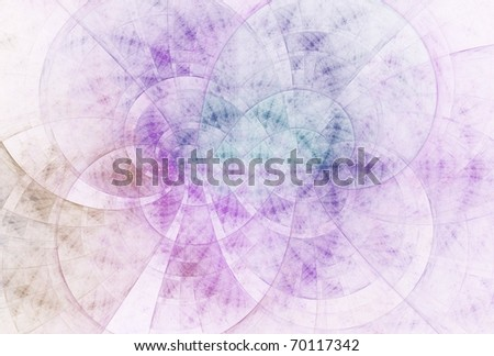 Intricate purple, blue and copper abstract fractal design on white background - stock photo
