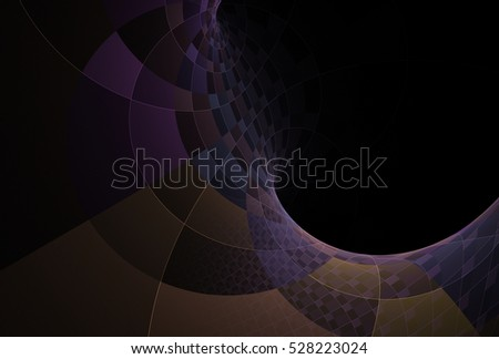 Intricate purple, blue and orange abstract curved checkered design on black background