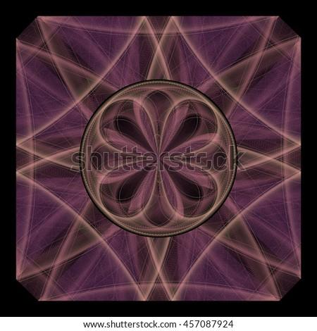 Intricate purple / gold abstract diamond / disc flower design on black background - stock photo