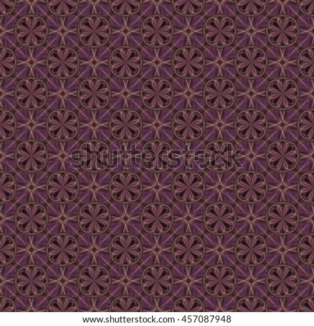 Intricate purple / gold abstract diamond / disc flower pattern on black background (tile able) - stock photo