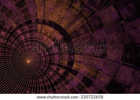 Intricate purple / orange abstract ripple / disc design on black background - stock photo