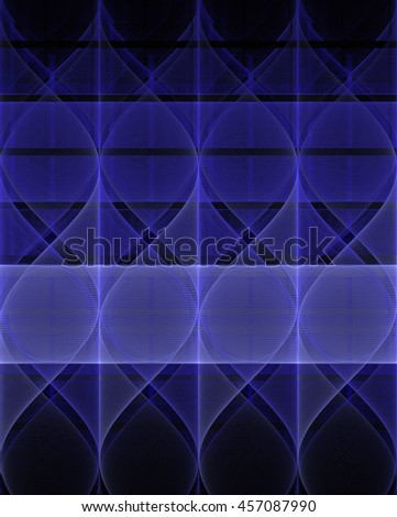 Intricate purple / silver abstract modern wave pattern on black background - stock photo