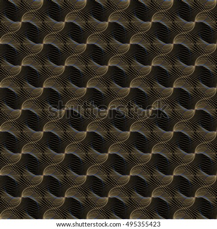 Intricate silver and gold abstract woven ripple / string design on black background (tile able)