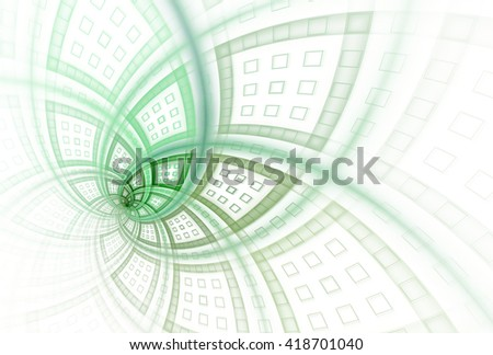 Intricate teal and green modern flower design on white background  - stock photo