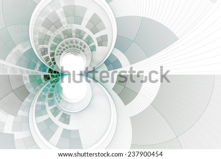 Intricate teal / blue / grey curved checkered 'infinity' design on white background  - stock photo