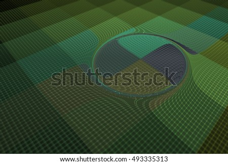 Intricate teal, green and grey abstract swirling disc design on black background