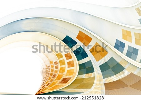 Intricate teal / orange checkered abstract wave design on white background  - stock photo
