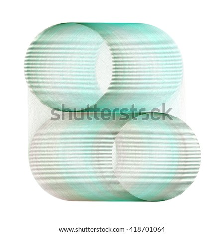 Intricate teal  / silver abstract ring / cylinder design on white background  - stock photo