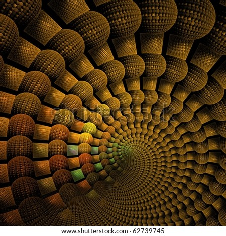 Intricate three dimensional gold / orange spiral on black background - stock photo