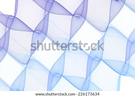 Intricate woven blue geometric wave design on white background  - stock photo