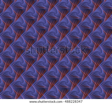 Intricate woven purple, pink and orange diamond design on black background (tile able)