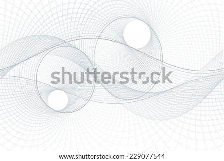 Intricate woven silver / grey string / disc design on white background  - stock photo