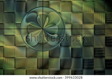 Intricate woven yellow, green and blue abstract flower / disc design on black background