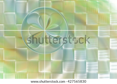 Intricate woven yellow, green and blue abstract flower / disc design on white background