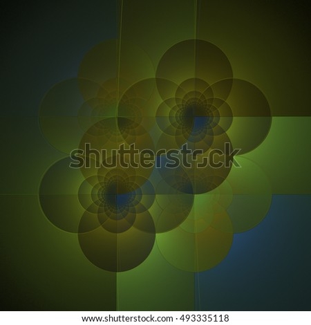 Intricate yellow, blue and green abstract geometric flower pattern / tile on black background