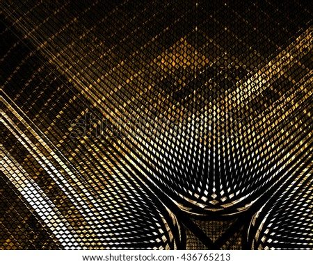 Intriguing unusual abstract techno background with elements of gold. 3D illustration