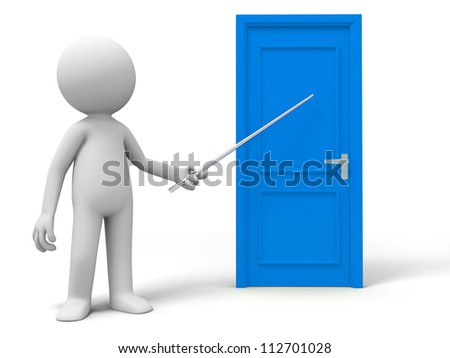 Introduce/Point/A person introduces a door with a stick - stock photo