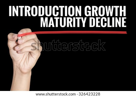 Introduction Growth Maturity Decline word writting by men hand holding highlighter pen with line on black background - stock photo