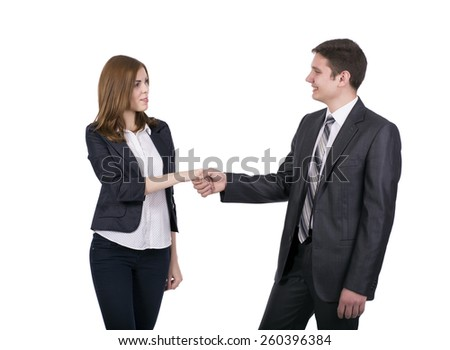 Introduction of male and female business people. Young man and woman shaking hands. Business style dress code, white background. - stock photo