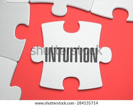 Intuition - Text on Puzzle on the Place of Missing Pieces. Scarlett Background. Close-up. 3d Illustration. - stock photo