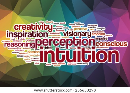 Intuition word cloud concept with abstract background - stock photo