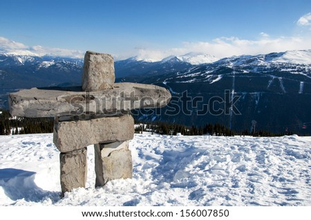 Inukshuk on top of Whistler Mountain - stock photo