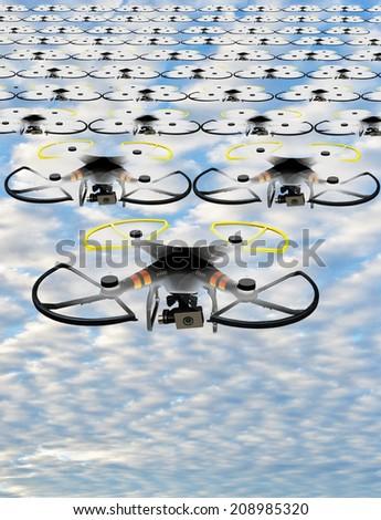 Invasion of drones - stock photo