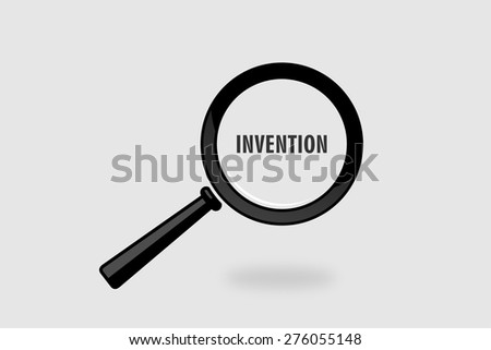 invention word with magnifying glass in grey background - stock photo