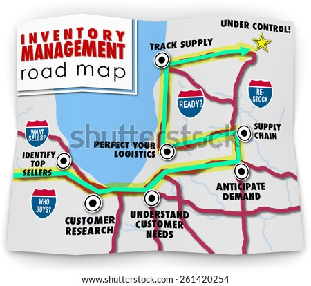 Inventory Management words on a road map offering tips, advice, information, directions and instruction on running a business that stocks and sells products through logistics and control - stock photo