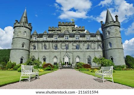 Inveraray castle front view - stock photo