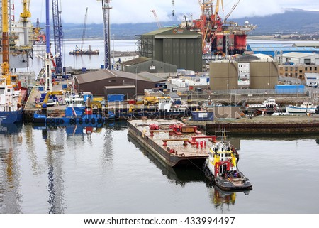 INVERGORDON, UK- 5 SEPTEMBER: Being close to the oil fields of heavy industry developed in Invergordon for the production and maintenance of oil platforms.  5 SEPTEMBER 2014
