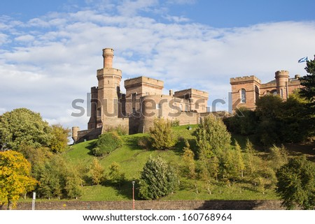 Inverness Castle originally built in 1836. Today it houses Inverness Sheriff Court. - stock photo