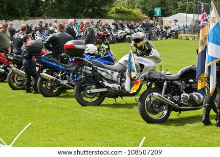 INVERNESS, SCOTLAND - JULY 21: Unidentified bikers from The Royal British Legion at the annual Inverness Highland Games & Armed Forces Day celebrations on July 21, 2012 in Inverness, Scotland