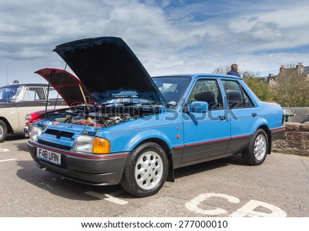 INVERNESS, SCOTLAND - MAY 9: Ford Orion on May 9, 2015 in Inverness, Scotland.The Ford Orion was built for the European market from 1983 to 1993.