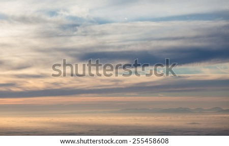 inversion fog in black forest, southwest Germany  - stock photo