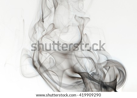 Inverted negative smoke fog steam on white background black haze - stock photo