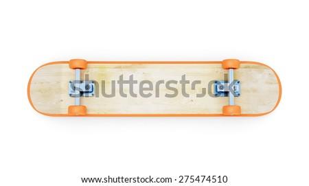 Inverted skateboard. Skateboard bottom side isolated on white background. 3d illustration. - stock photo