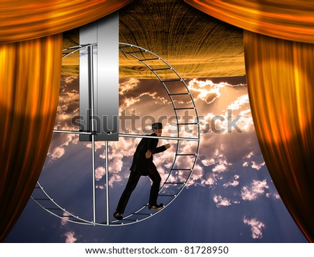 Inverted world and man on hamster wheel - stock photo