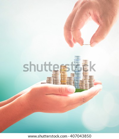 Invest concept. Gold, Fund, Support, Dividend, Market, Growth, Home, House, Stock, Trust, Wealthy, Giving, Collection, Debt, ROI, CSR, Save, Bonus, Deposit, City, Enrich, Rich, Coin, Hand, Child. - stock photo