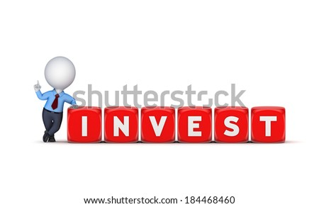 Invest concept.Isolated on white.3d rendered.