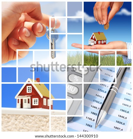Invest in real estate concept. Collage. - stock photo
