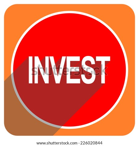 invest red flat icon isolated