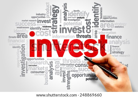 Invest word cloud, business concept - stock photo
