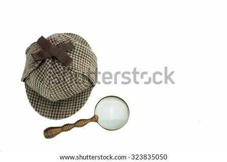 Investigation Concept With  Sherlock Holmes Hat Famous As  Deerstalker Isolated On White Background - stock photo