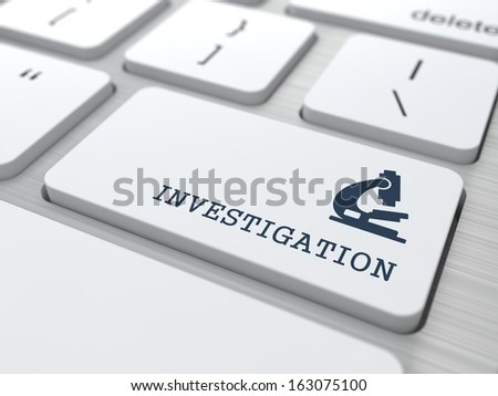 Investigation Word with Microscope Icon on Button of White Modern Computer Keyboard. Science Concept. - stock photo