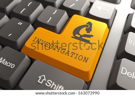 Investigation Word with Microscope Icon on Orange Button on Black Modern Computer Keyboard. Science Concept. - stock photo