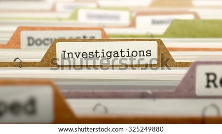 Investigations Concept on File Label in Multicolor Card Index. Closeup View. Selective Focus.  - stock photo