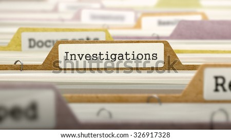 Investigations Concept on Folder Register in Multicolor Card Index. Closeup View. Selective Focus. - stock photo