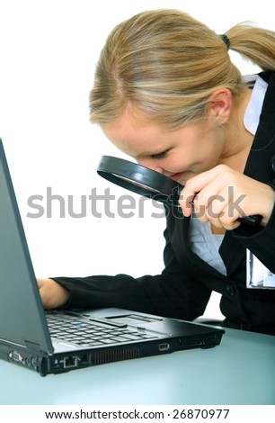 investigator checking computer using loupe. isolated on white - stock photo