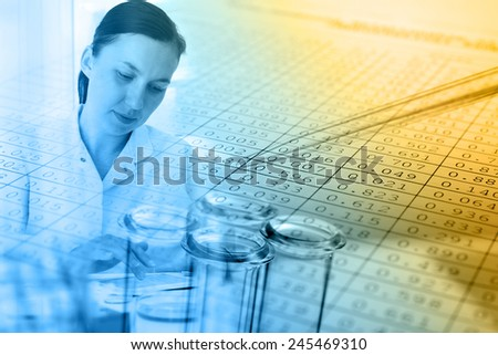 Investigator checking,test tubes ,medical glassware  - stock photo